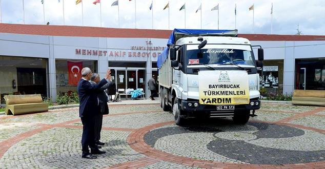 Isparta Belediyesi'nden Bayır Bucak Türkmenlerine yardım